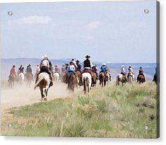 Acrylic Print featuring the digital art Cowboys And Cowgirls Riding Horses At The Sombrero Horse Drive by Nadja Rider