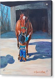Acrylic Print featuring the painting Cowboy's First Love by Karen Kennedy Chatham