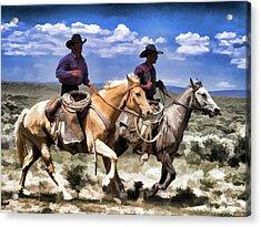 Acrylic Print featuring the digital art Cowboys On Horseback Riding The Range by Nadja Rider