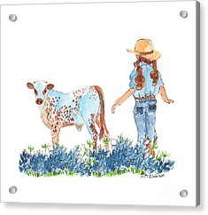 Cowgirl Calf In The Bluebonnets Pe005 Acrylic Print