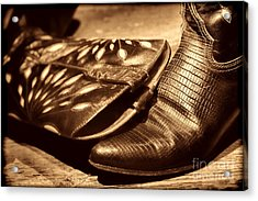 Cowgirl Gator Boots Acrylic Print by American West Legend By Olivier Le Queinec