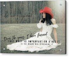 Cowgirl Red Quote Acrylic Print by JAMART Photography