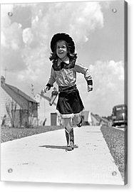 Cowgirl Running Down Sidewalk, C.1950s Acrylic Print