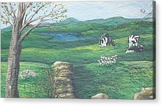 Cows In Field Acrylic Print by Barbara McDevitt