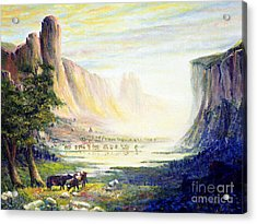 Cows In The Mountain Acrylic Print by Wingsdomain Art and Photography