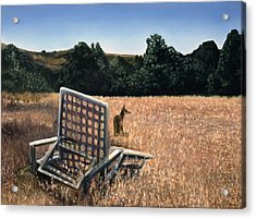 Coyote And Rabbit Acrylic Print by Lance Anderson