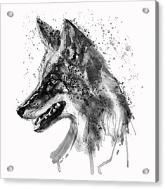 Acrylic Print featuring the mixed media Coyote Head Black And White by Marian Voicu