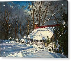 Cozy In The Snow Acrylic Print by L Diane Johnson