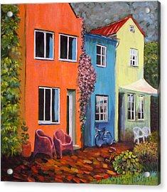 Cozy Street Acrylic Print by Art Nomad Sandra  Hansen
