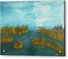 Crab Lady Landing In Big Lake Acrylic Print