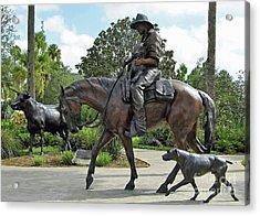 Cracker Cowboy And His Dog Acrylic Print by D Hackett
