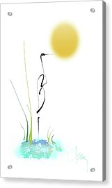 Acrylic Print featuring the mixed media Crane by Larry Talley