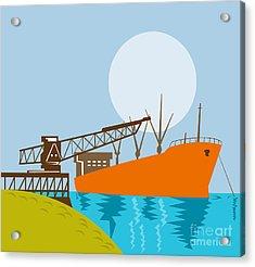 Crane Loading A Ship Acrylic Print by Aloysius Patrimonio