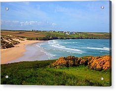 Crantock Bay And Beach North Cornwall England Uk Near Newquay With Waves In Spring Acrylic Print