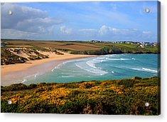 Crantock Beach And Yellow Gorse North Cornwall England Uk Acrylic Print by Michael Charles