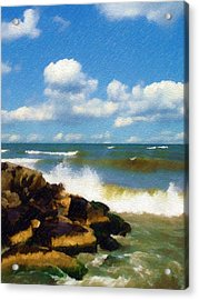 Crashing Into Shore Acrylic Print