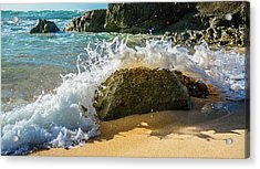Crashing Over The Rock Acrylic Print