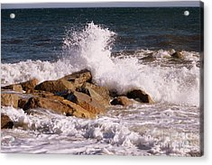 Crashing Surf On Plum Island Acrylic Print by Eunice Miller