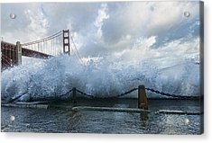 Acrylic Print featuring the photograph Crashing Wave Golden Gate Bridge King Tide by Steve Siri