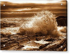 Crashing Wave Hdr Golden Glow Acrylic Print by Sherman Perry