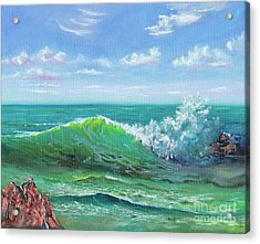 Acrylic Print featuring the painting Crashing Wave by Mary Scott