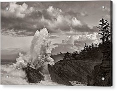 Crashing Waves At Shore Acres Acrylic Print