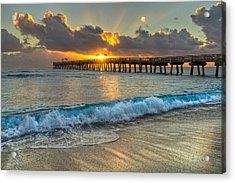 Crashing Waves At Sunrise Acrylic Print by Debra and Dave Vanderlaan