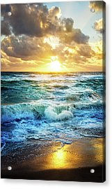 Acrylic Print featuring the photograph Crashing Waves Into Shore by Debra and Dave Vanderlaan