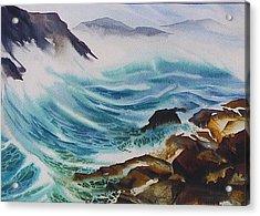 Crashing-waves Acrylic Print by Nancy Newman