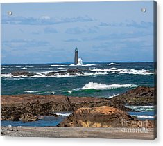 Crashing Waves On Minot Lighthouse  Acrylic Print