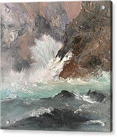 Crashing Waves Seascape Art Acrylic Print by Michele Carter