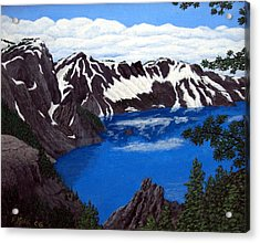 Acrylic Print featuring the painting Crater Lake by Frederic Kohli
