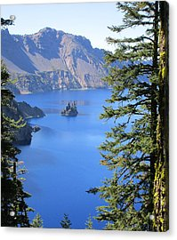 Crater Lake Ghost Ship Island Acrylic Print by Marie Neder