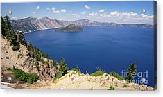 Acrylic Print featuring the photograph Crater Lake Klamath County Oregon Dsc5197 Panorama by Wingsdomain Art and Photography