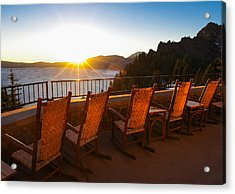 Crater Lake Lodge Porch Sunrise Acrylic Print