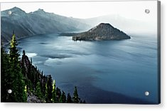 Crater Lake Under A Siege Acrylic Print by Eduard Moldoveanu