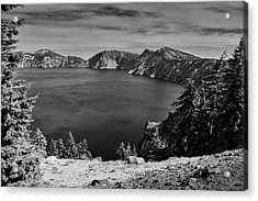 Acrylic Print featuring the photograph Crater Lake View In Bw by Frank Wilson