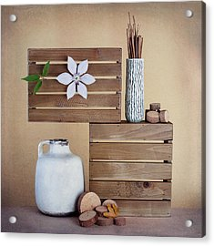 Crates With Flower Still Life Acrylic Print