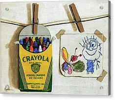 Box Of Crayons And Child's Drawing Realistic Still Life Painting Acrylic Print