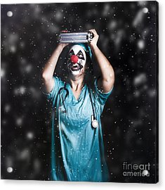 Crazy Doctor Clown Laughing In Rain Acrylic Print by Jorgo Photography - Wall Art Gallery