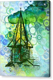 Crazy House In The Clouds Whimsy Acrylic Print by Georgiana Romanovna
