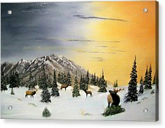 Acrylic Print featuring the painting Crazy Mountains Sunset by Al  Johannessen