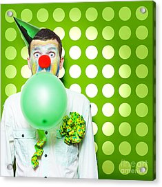 Crazy Party Clown Inflating Green Party Balloon Acrylic Print