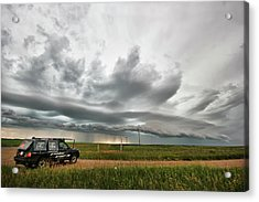 Crazy Shelf Cloud Near Ponteix Sk. Acrylic Print by Ryan Crouse
