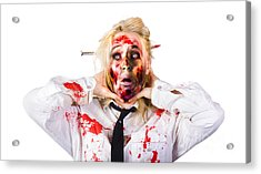 Crazy Zombie Business Woman In Struggle  Acrylic Print by Jorgo Photography - Wall Art Gallery