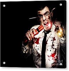 Crazy Zombie Businessman With Dynamite Explosives Acrylic Print by Jorgo Photography - Wall Art Gallery