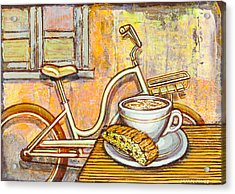 Cream Electra Town Bicycle With Cappuccino And Biscotti Acrylic Print