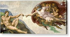 Creation Of Adam - Painted By Michelangelo Acrylic Print