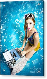 Creative Pin Up Novelist Acrylic Print by Jorgo Photography - Wall Art Gallery