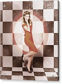Creative Vintage Pin-up Girl In 50s Retro Diner Acrylic Print by Jorgo Photography - Wall Art Gallery